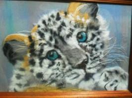 """Картина из шерсти """"Леопард"""" А4 2000 руб."""
