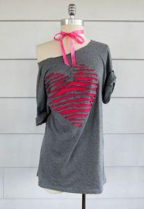 переделка футболки сердце